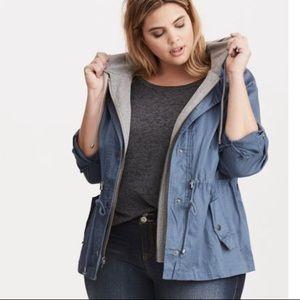 Torrid Blue/Gray hooded Anorak Jacket